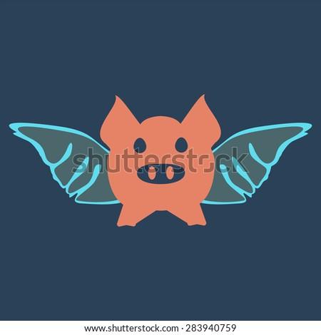 flying pig cartoon wings
