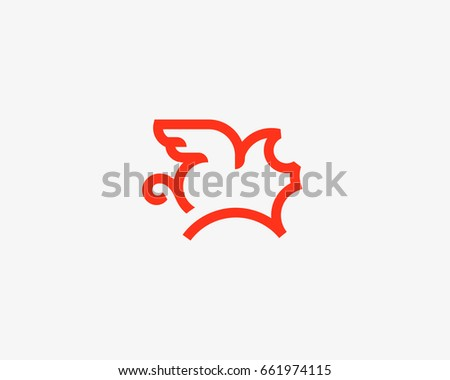 flying pig line vector logotype