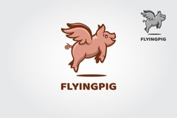 Flying Pig Vector Logo Template. The illustration fantasy pig logo design. Take a touch of creativity and fun for with your business.
