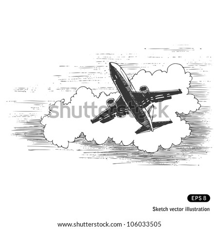 Flying plane against a cloud. Hand drawn sketch illustration isolated on white background