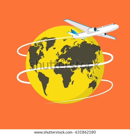 Flying Plane. The path Plane. Flying around the world. Flat vector illustration.