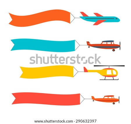 Flying planes set and helicopter with banners. Template for text, chart, infographics.