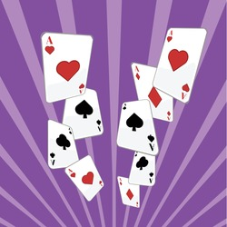 Flying playing cards vector illustration. Poker backround concept. Isometric casino cards poster banner.
