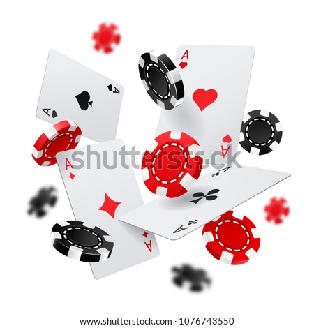 Flying poker chips and aces cards for internet casino banner. Las Vegas gambling poster or sign. Fortune and luck, chance and sport, success and risk theme