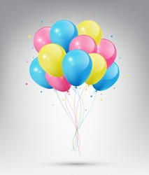 Flying Realistic Glossy Blue, Pink and Yellow Balloons with Party and Celebration concept on white background