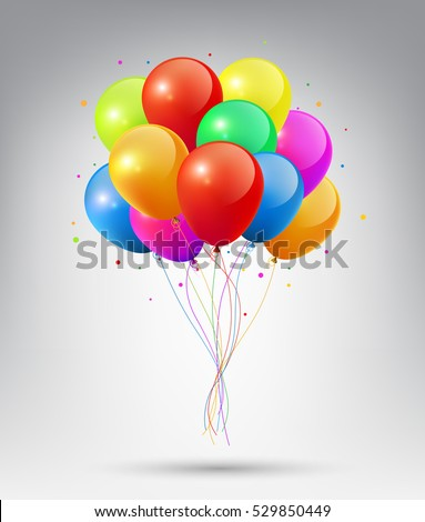 Flying Realistic Glossy Colorful Balloons with Party and Celebration concept on white background