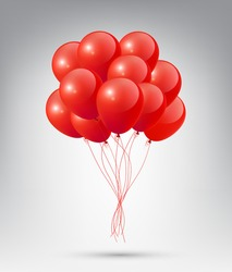 Flying Realistic Glossy Red Balloons with Party and Celebration concept on white background
