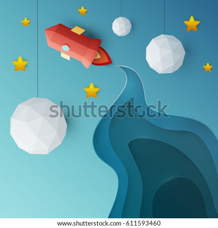 flying red rocket in space with