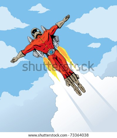 Flying rocket dude