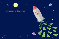Flying Rocket for business startup concept. Launch Project start up business by rocket money fuel.space for text. flat vector illustration EPS10.