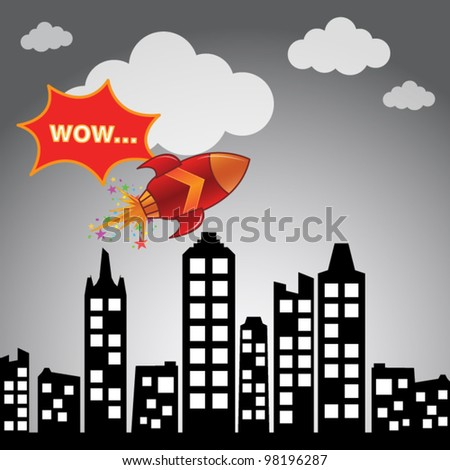 Flying rocket in the city - stock vector