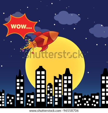 Flying rocket in the night city