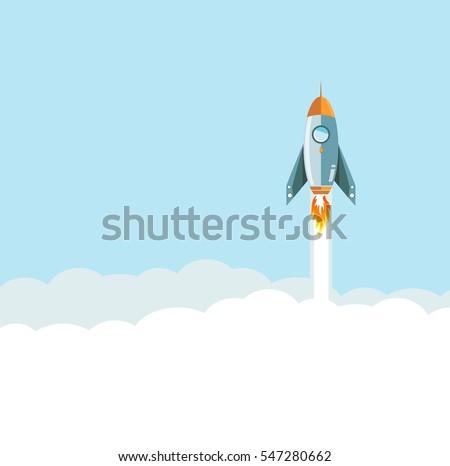 flying Rocket over clouds background. illustration design graphic