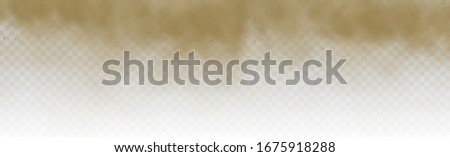 Flying sand. Brown dusty cloud or dry sand flying with a gust of wind, sandstorm. Dust cloud. Scattering trail on track from fast movement. Brown smoke realistic texture vector illustration.