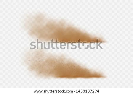 Flying sand. Dust cloud. Sandstorm.