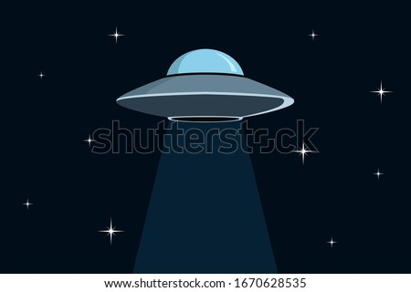 Flying saucer in space. Vector illustration. Stock photo ©
