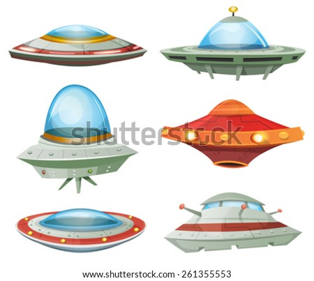 Flying Saucer, Spaceship And UFO Set/ Illustration of a set of cartoon funny UFO, unidentified spaceship and spacecrafts from alien invaders, with various futuristic shapes
