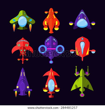 Flying Saucer Spaceship And UFO Set Illustration of a set of cartoon funny UFO unidentified spaceship and spacecrafts from alien invaders with various futuristic shapes