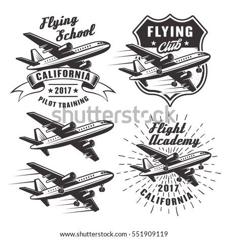 flying school set of vector...