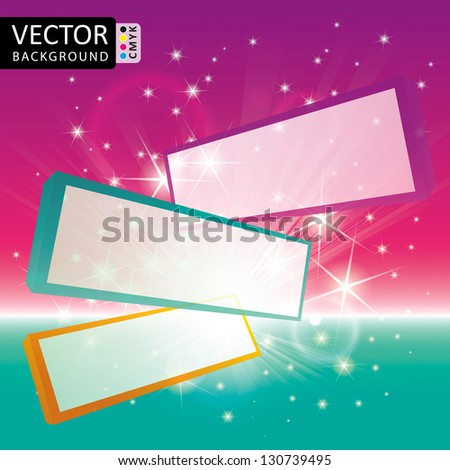 Flying Screen Panels Shine Abstract Light Stars Vector Background CMYK Color