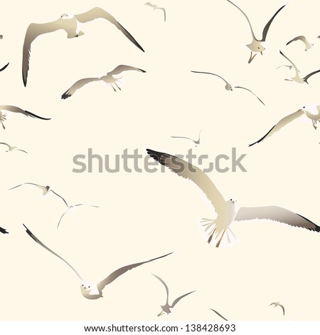 flying seagulls seamless texture