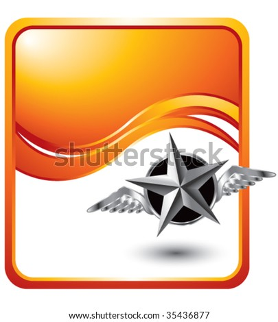 flying silver star on orange