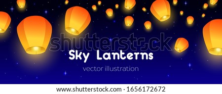 Flying Sky lanterns horizontal banner. Background Diwali festival, Mid Autumn Festival or Сhinese festive. Luminous floating lamps in the night sky with place for text. Color vector illustration