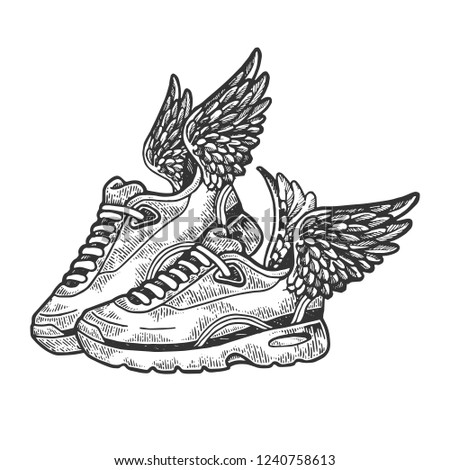 Flying sneakers with wings engraving vector illustration. Scratch board style imitation. Black and white hand drawn image.
