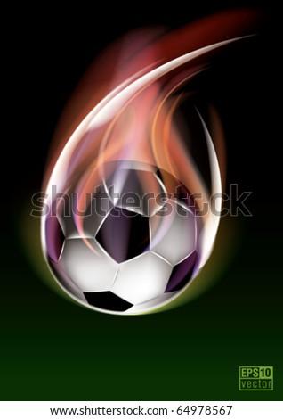 Flying soccer ball, eps10 vector - stock vector