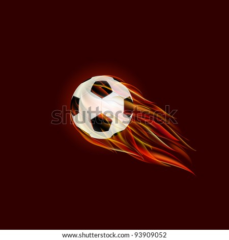 Flying Soccer Ball with Flame on Dark Red Background. Vector Illustration.