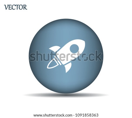 Flying space rocket, vector icon.