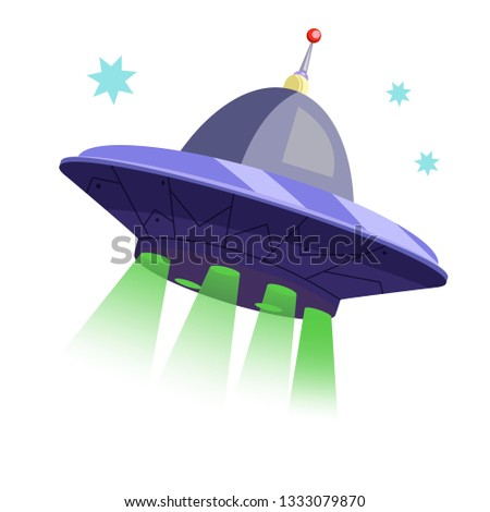 Flying spacecraft in sky. Modern saucer with antenna. Can be used for topics like ufo, space, cosmos