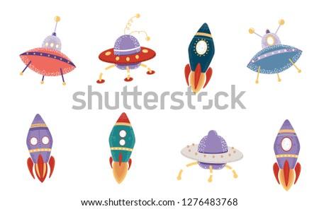 flying spacecraft set vector