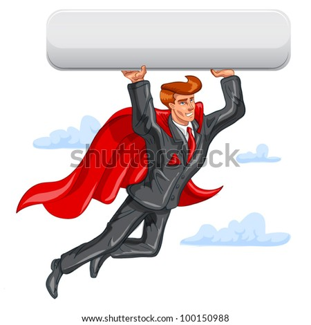 Flying Super businessman has big button. In place of a button you can put whatever you want.