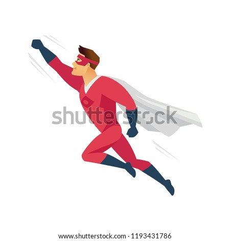 Flying superhero - modern cartoon people character illustration isolated on white background. Colorful composition with a boy in red superman costume, mask and mantle to the rescue. Support concept