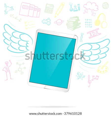 flying tablet with a wings