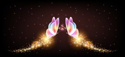 Flying transparent delightful butterflies with sparkle and blazing trail flying in night sky among shiny glowing stars in cosmic space. Animal protection day concept.