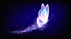Flying transparent delightful butterfly with sparkle and blazing trail flying in night sky among shiny glowing stars in cosmic space. Animal protection day concept.