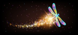 Flying transparent delightful dragonfly with sparkle and blazing trail flying in fairytale night sky among shiny glowing stars in cosmic space. Animal protection day concept.