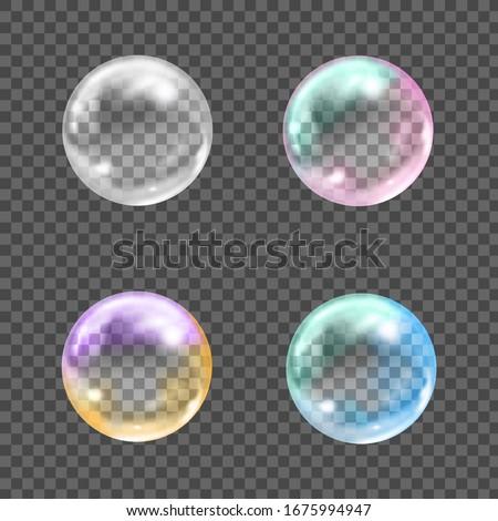 flying transparent soap bubbles