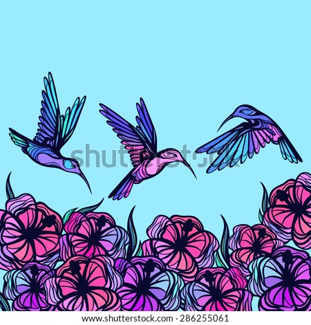 flying tropical stylized
