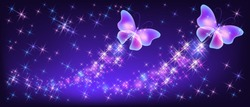 Flying two neon butterflies with sparkle and blazing trail and glowing stars