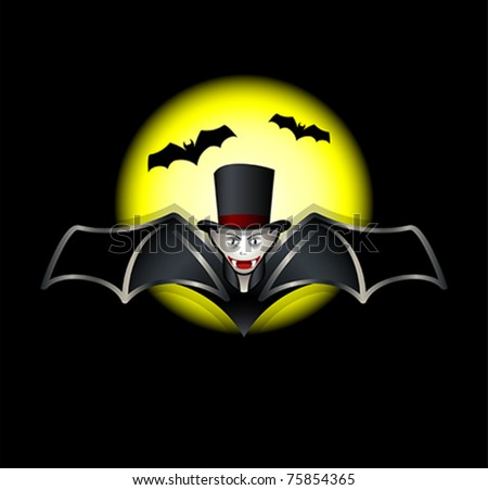 flying vampire bat over night