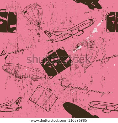 flying vehicles journey seamless pattern. Vector illustration EPS8