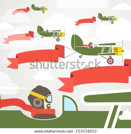 Flying Vintage Group Of Planes With Banners Template For A Text