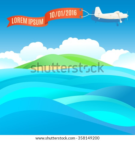 flying vintage plane with