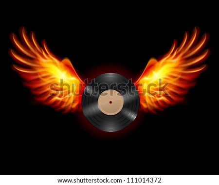 Flying Vinyl LP record, on wings of fire - stock vector