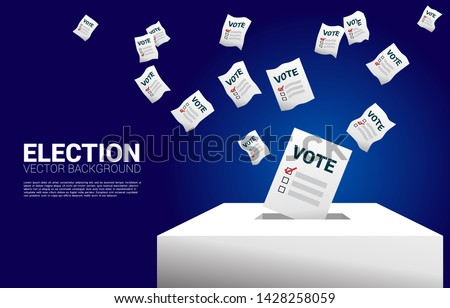 flying vote paper put in election box. concept for election vote theme background.