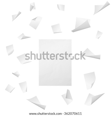 Flying white blank sheets of paper with bent corners