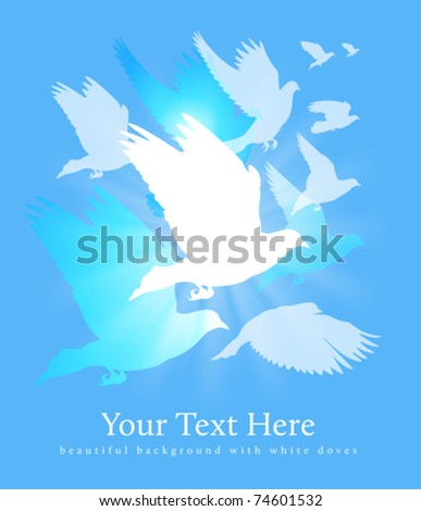 flying white doves background